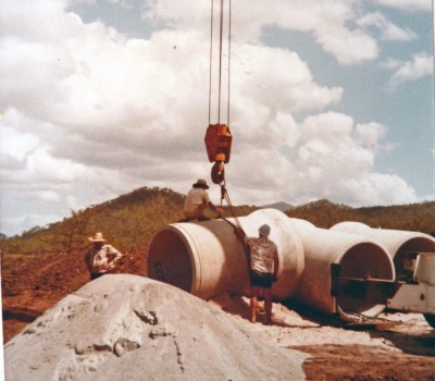 Huge drainage pipes were installed under the causeway