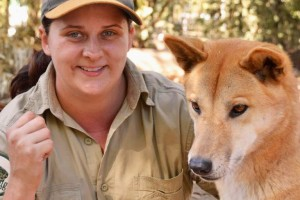 Ranger Renée with King, our male dingo